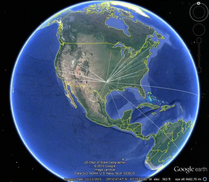 JT65 Contacts Google Earth View