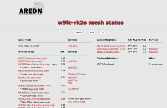 Mesh Status Screen From W5FC Rocket